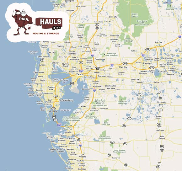 Trinity Florida Map.Movers Tampa St Petersburg Clearwater Florida Service Area