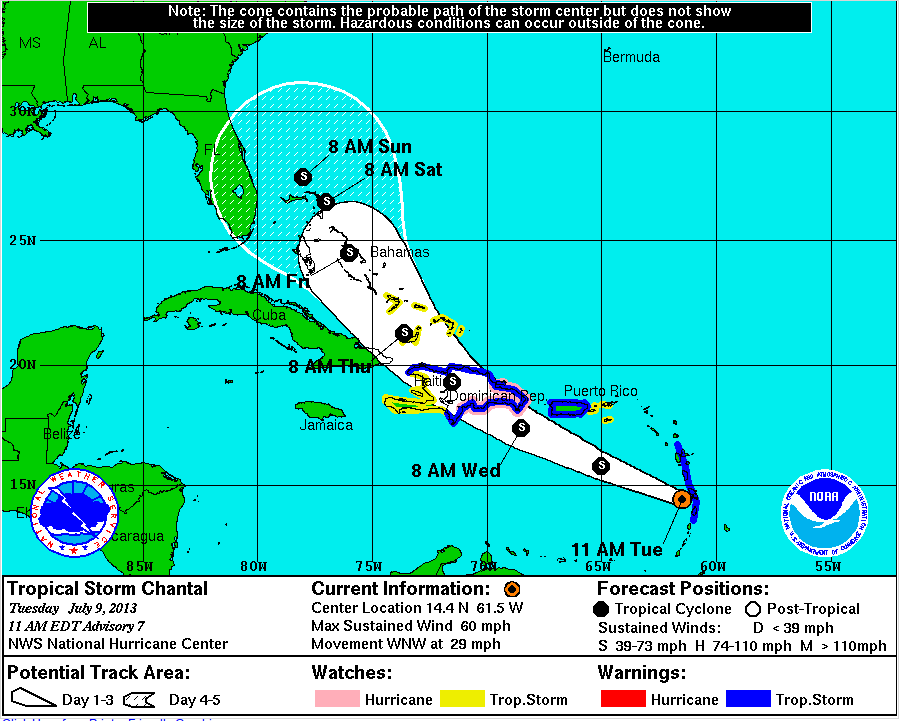 tropical storm chantal from NOAA